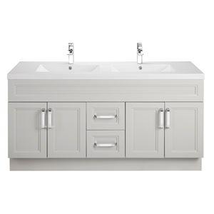 Cutler Kitchen & Bath Urban 60-in Grey Double Bowl 2-in Top Free Standing Bathroom Vanity