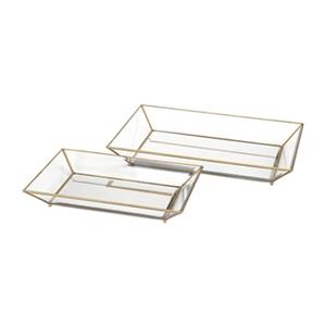 IMAX Worldwide Copper/Glass Maison Decorative Trays (Set Of 2)