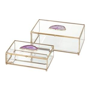IMAX Worldwide Copper/Glass Maison And Agate Boxes (Set Of 2)