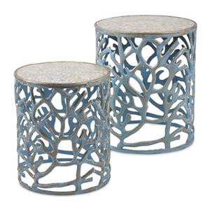 IMAX Worldwide Blue Coral Mother of Pearl Tables  (Set of 2)