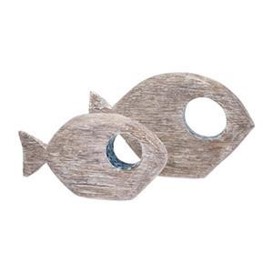IMAX Worldwide Akua Wood/Glass Mosaic Fish (Set Of 2)