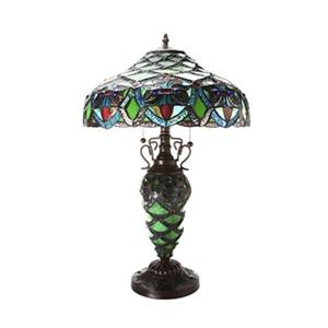 Warehouse of Tiffany Arielle Green Double-lit Tiffany Style Table Lamp