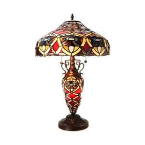 Warehouse of Tiffany Arielle Red Double-lit Tiffany Style Table Lamp