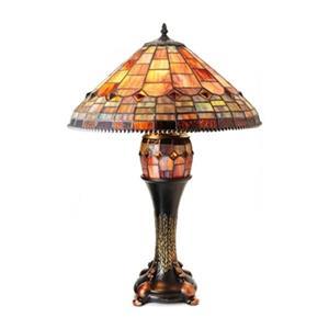 Warehouse of Tiffany Aquastone Tiffany Style Double Lit Table Lamp