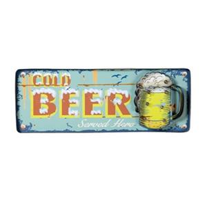 RAM Game Room Products 24.5-in x 9-in Lit Metal Cold Beer Battery Operated Sign
