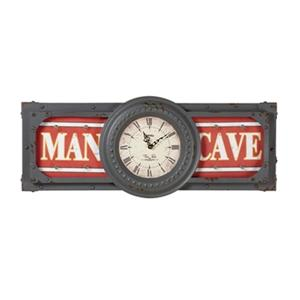 RAM Game Room Products 30.5-in x 12.5-in Lit Metal Man Cave Battery Operated Clock