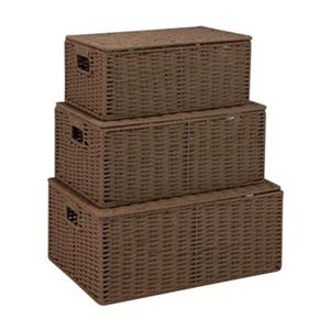 Honey Can Do Chocolate Brown Parchment Cord Basket Set