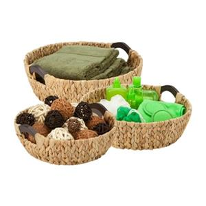 Honey Can Do Wicker Round Water Hyacinth Basket Set