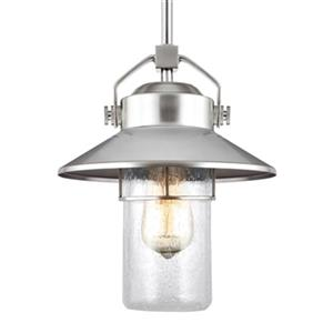 Feiss Boynton Collection 9-in x 11-in Brushed Steel Lantern Pendant Light