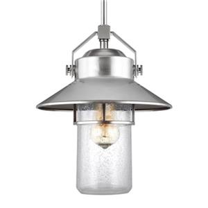 Feiss Boynton Collection 10.5-in x 13-in Brushed Steel Lantern Pendant Light
