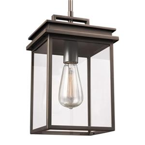 Feiss Glenview Collection 7.75-in x 13-in Antique Bronze Lantern Pendant Light