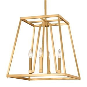 Feiss Conant Collection 18-in x 19-in Gilded Satin Brass 4-Light Foyer Chandelier