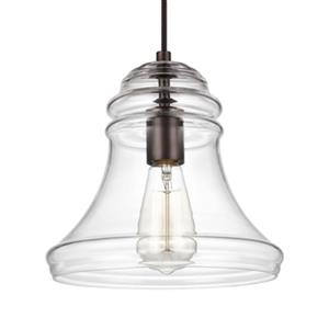 Feiss Doyle Collection 9.75-in x 9.5-in Oil-Rubbed Bronze Wide Bell Mini Pendant Light