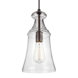 Feiss Doyle Collection 7-in x 13.5-in Oil-Rubbed Bronze Narrow Bell Mini Pendant Light