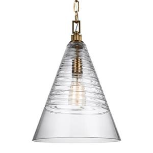 Feiss Elmore Collection 11.75-in x 18-in Burnished Brass Cone Mini Pendant Light