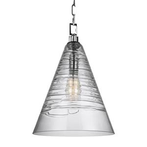 Feiss Elmore Collection 11.75-in x 18-in Chrome Cone Mini Pendant Light