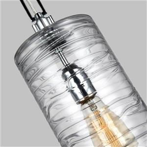 Feiss Elmore Collection 6-in x 18.5-in Chrome Cylinder Mini Pendant Light