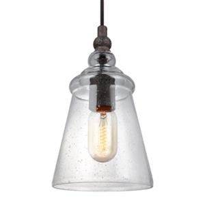 Feiss Loras Collection 5.75-in x 9.5-in Dark Weathered Iron Bell Mini Pendant Light