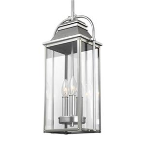 Feiss Wellsworth Collection 6.25-in x 18.75-in Brushed Steel 3-Light Lantern Pendant Light