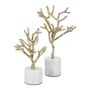 IMAX Worldwide Eden Aluminum Stone Concept Trees On Marble Base (Set Of 2)