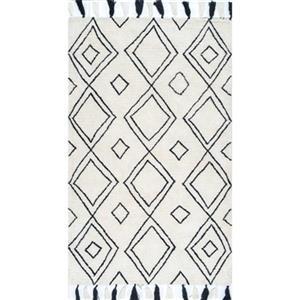 Ivory Lisha Moroccan Diamond Tassel Kids Rug