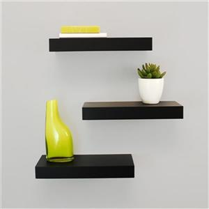 Nexxt Designs Maine 12-in Black Floating Ledge Decorative Wall Shelf (3 Pack)