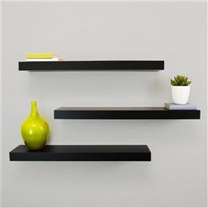 Nexxt Designs Maine Black Floating Ledge Decorative Wall Shelf (3 Pack)