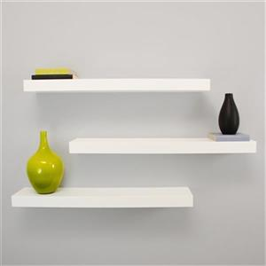 Nexxt Designs Floating Decorative Wall Shelf - 24-in - Set of 3 - White