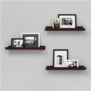 Nexxt Designs 23-in x 4-in Espresso Edge Picture Frame Ledge Shelf (Set of 3)