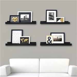 Nexxt Designs 23-in x 4-in Black Edge Picture Frame Ledge Shelf (Set of 4)