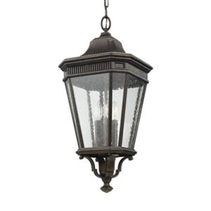 Feiss Cotswold Lane Collection 12-in x 26.5-in Bronze 3-Light Lantern Pendant Light