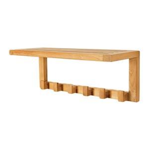 Teak Wall Shelf with Hooks