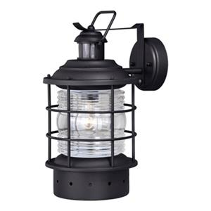 Cascadia Hyannis Dualux Black Motion Sensor Dusk to Dawn Outdoor Wall Light