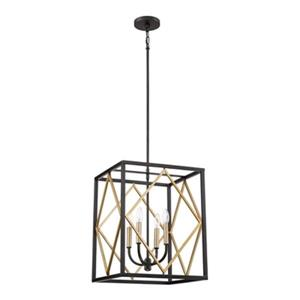 Quoizel Platform Collection 16-in x 20.8-in Gold Cage 4-Light Pendant Light