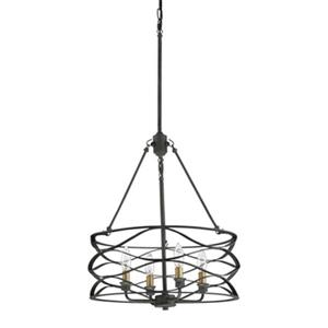 Quoizel Unity Collection 18-in x 35.5-in Mottled Black with Gold 4-Light Cage Pendant Light