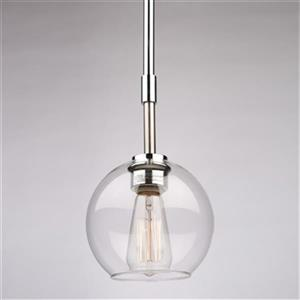 Steven & Chris by Artcraft Hamilton Collection 6.5-in x 6.5-in Brushed Nickel Globe Mini Pendant Light