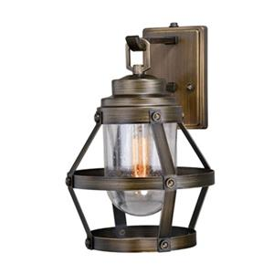 Cascadia Bruges 1-Light Dusk to Dawn Bronze Cage Outdoor Wall Light