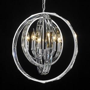 Design Living GL Series Collection 22-in x 22-in Chrome Crystal Glass 3-Ring 6-Light Pendant Light