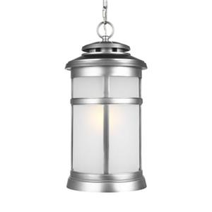 Feiss Newport Collection 9.25-in x 18.5-in Brushed Steel Frosted Glass Lantern Pendant Light