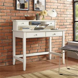 Crosley Furniture Campbell 38.75-in x 42-in White Writing Desk with Hutch