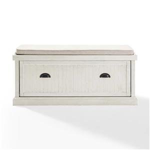 Crosley Furniture Seaside Distressed White Entryway Bench