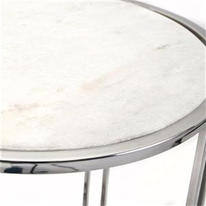IMAX Worldwide Hachi Silver Marble Side Tables (Set of 2)