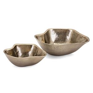 IMAX Worldwide Machar Gold Aluminum Decorative Wavy Bowls (Set Of 2)