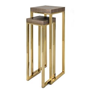 IMAX Worldwide Gleaming Gold Markov Stainless Steel Stands (Set of 2)