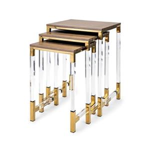 IMAX Worldwide Mave Clear/Gold Acrylic Leg Side Tables (Set of 3)