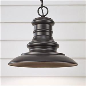 Feiss Redding Station Collection 12-in Restoration Bronze LED Pendant Light