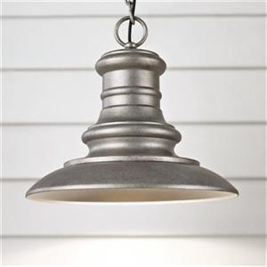 Feiss Redding Station Collection 12-in Tarnished Silver LED Pendant Light