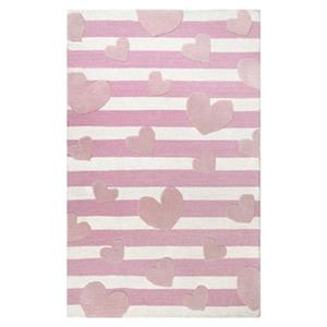 Hearts Striped Cochran Pink Kids Rug