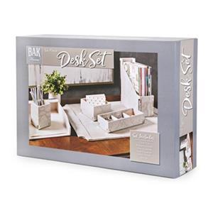 IMAX Worldwide Beth Kushnick Grey Faux Snakeskin Desk Set in Gift Box (Set of 6)