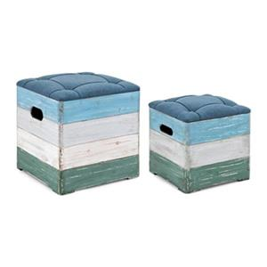 IMAX Worldwide Delta Blue Wood Crate Ottomans (Set of 2)